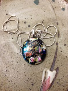 Black dichroic glass with blues, pinks, oranges, silver pendant necklace, bohemian necklace