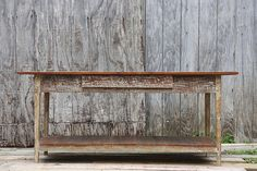 Custom built console with drawer made from reclaimed wood by Landrum Tables  http://www.landrumtables.com