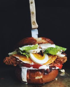 Fried Chicken Club Sandwich with bacon, egg, ranch and blue cheese: The Ultimate Chicken Club Sandwich Recipe