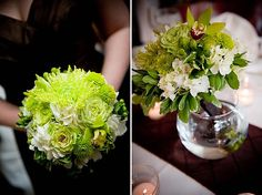 super green roses, white hydrangea, cymbidium orchids, kermit mums, green spider mums, and hypericum berries