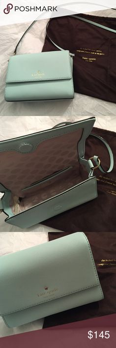 Kate Spade Cross Body Cedar Street Magnolia Light aqua Kate Spade cross body cedar street magnolia bag! Never been used comes with care directions and dust bag. Loved the bag but didn't work for what I needed! Perfect for date night kate spade Bags Crossbody Bags