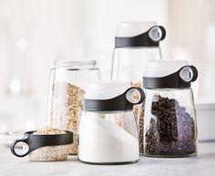 Black Medida Storage Jars with Measuring Cup, Set of 4 Small Kitchen Organization, Small Kitchen Storage, Kitchen Storage Solutions, Food Storage Containers, Jar Storage, Storage Ideas, Pots, Stylish Kitchen, Holiday Gift Guide