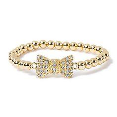 Crystal Bow Bead Bracelet