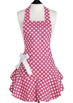 191 Free Apron Patterns  Love this apron style! One can never have too many ruffles, bows or polka dots. :)