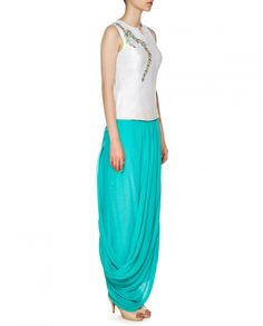 Turquoise Dhoti Pants with Ivory Top - Anita Dongre - Designers