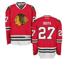 CHICAGO BLACKHAWKS MENS JOHNNY ODUYA PREMIER HOME JERSEY WITH AUTHENTIC TACKLE-TWILL LETTERING
