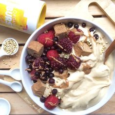 Frozen Organic Mixed Berries + Homemade Almond Maca Fudge Bites + Banana Ice Cream + Almond Butter Drizzle Wowie! How is it possible that I now have 80,000 followers that believe in me and my raw vegan journey, that's just insane!  THANK YOU!!!