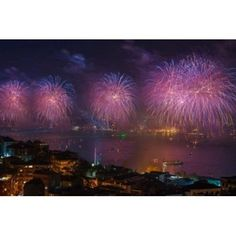 Fireworks display over the Bosphorus Istanbul Turkey Canvas Art - Ali Kabas DanitaDelimont (36 x 24)
