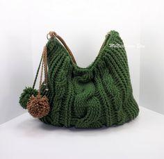 Crochet over sized green hobo bag, crochet beaded bag, pompom hobo bag, crochet shopper bag, crochet cable fashion hobo bag 2014