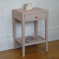 Pretty pink bedside table painted in Annie Sloan's Antoinette over Original. Available from Charlotte Jones Interiors. Contact us: sales@charlottejonesinteriors.com