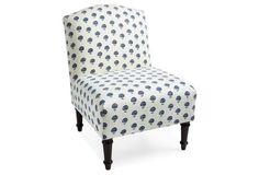 360 Clark Slipper Chair, Blue Dandelion