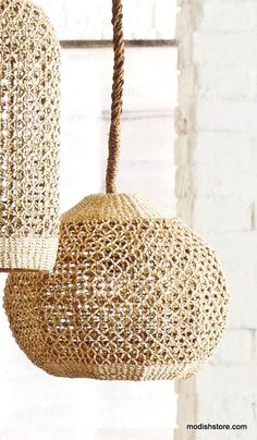 This beautiful Abaca light piece, adds touch of rustic elegance to any decor. Abaca is a durable and flexible fiber that has a lovely natural color and can be used to create finely detailed woven patterns, such as those in our shapely pendant lamps. Woven, wrapped cord is fifteen-feet long with a plug end.