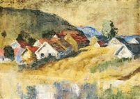 Houses in Zebegény oil on canvas 50 x 70,5 cm