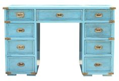 "Turquoise Campaign Desk 25"" L x 49"" W x 31"" H ... Ask $1695"