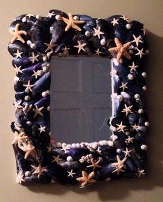 Cape Cod Shell Design custom mirror. Exclusive design titled, Cape Cod Starry Night.