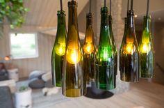 Green bottle lighting - Interior design work by Oliver Heath Design for TV2's Tid for Hjem in Norway Photograph by Jan Inge Mevold Skogheim