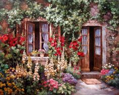 painting by Paul Guy Gantner Decoupage Vintage, Vintage Paper, Belle Image Nature, Korean Artist, Background Pictures, Watercolor Cards, Pictures To Paint, Beautiful Landscapes, Garden Art