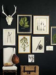 Gallery Wall should I choose to I like the color effect of dark wall and light pictures.keep my green antique table and paint a wall black Black Feature Wall, Feature Walls, Home Decoracion, Interior And Exterior, Interior Design, Dark Walls, Dark Painted Walls, Paint Walls, Office Wall Art