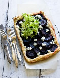 Beet Tart with Blue Goat Cheese and Frisee by dessertsforbreakfast #Beets #Beet_Tart #Goat_Cheese