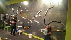 Magnetic wall, pvc pipe, marbles