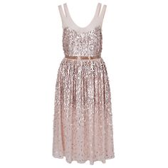 Buy French Connection Shimmer Midi Dress, Pretty Petal/Silver Online at johnlewis.com