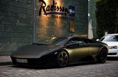 Matte Black Lamborghini Murciélago. Everything looks better in Matt.  I mean matte.