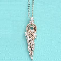 Graceful Rhinestoned Leaf Wedding Necklace Jewelry For Women #CLICK! #clothing, #shoes, #jewelry, #women, #men, #hats