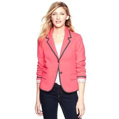 GAP 'The Academy' Blazer Hot Pink SZ 4 Amazing hot pink GAP 'the academy' blazer with grey trim and polka dot sleeve lining that looks super cute with the sleeves rolled up. Stretchy material that is very comfortable and flattering! Blazer is NWOT, absolutely perfect condition! Spruce up your spring/summer work wardrobe or pair with jeans and heels for an awesome date night outfit! Size 4. GAP Jackets & Coats Blazers