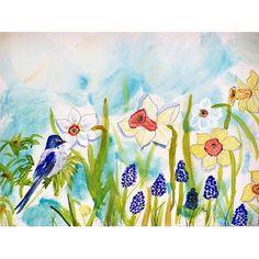 Betsy Drake Bird and Daffodil 30 X 50 Inch Comfort Floor Mat, Multi