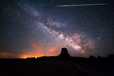 Eta Aquarid fireball lights up the sky over Devils Tower, part of the Bear Lodge Mountains in Wyoming.