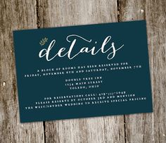 Rustic Floral Wedding Invite ADD-ON  Detail by BluebelleGraphics