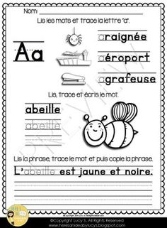 Free FRENCH La Lettre A - activities for the letter A