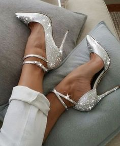 Style Silver Sparkly Heels Ankle Strap Stiletto Heel Pumps for Work, Formal event, Ball Fancy Shoes, Pretty Shoes, Beautiful Shoes, Cute Shoes, Beautiful Dresses, Beautiful Gorgeous, Top Shoes, Stilettos, Pumps Heels