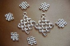 Buy Drop, Blue Moon Beads, Silver Finished,  Pewter, 7-12x10mm, and 3-21x21mm, diamond, with, Celtic design, pkg of 10 by darsjewelrysupplies. Explore more products on http://darsjewelrysupplies.etsy.com