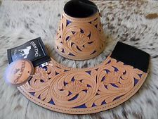 * SALE Tooled Leather DARK BLUE Inlay Bell Boots Rodeo & Trails New Horse Tack