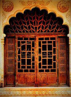 Gorgeous door design, double door, wood sidelites, transom, glass, raised panel.