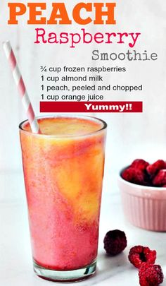 Skinny Foods You Must Eat to Lose Weight Fast: Lose Weight With This Low Fat Peach Raspberry Smoothie
