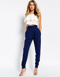 blue high waisted trousers