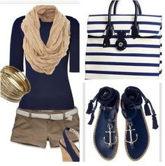 Summer Nautical Fashion-from The Everyday Home - Love this whole look, but I absolutely LOVE the sandals! I would rock this outfit Nautical Outfits, Nautical Fashion, Nautical Style, Nautical Theme, Mode Outfits, Casual Outfits, Summer Outfits, Dress Casual, Summer Clothes