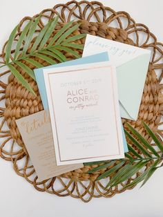 Boho Chic Rose Gold Minimalist Wedding Invitations for a Modern Destination Wedding