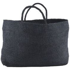 Far & Wide Collective Black Sisal Bag - Kenya Sisalbag_blk (£98) ❤ liked on Polyvore featuring bags, handbags, tote bags, black tote, beach tote bags, black handbags, black tote bag and beach purse