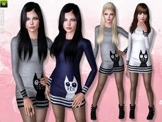 Cat Sweater Dress by Lillka - Sims 3 Downloads CC Caboodle