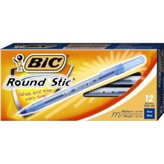 BIC Round Stic Ball Pen, Medium Point , 1.0 mm, Blue, 12 Pens (GSM11-Blu)