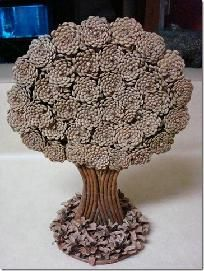 Handmade FLT Pine Cone Artsy Tree Craft Wooden Pine Cone Tree Art
