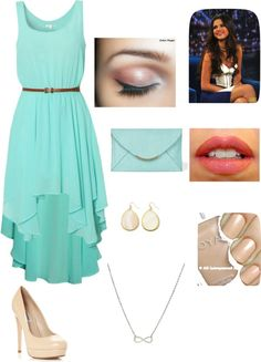 """""""Aqua high-low dress. Not too fancy but dressy"""" by cheelee on Polyvore"""