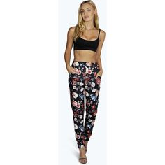 2c50fd395f875 Boohoo Night Saffi Winter Floral Skinny Pocket Trousers ($14) ❤ liked on  Polyvore featuring pants, black, sport pants, wide leg trousers, black  cigarette ...