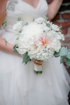 Peach and white bridal bouquet  Casa Larga Vineyards Wedding Flowers by Stacy K Floral in Fairport NY | Captured by Brandon Lata Photography