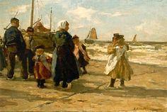 Johannes Evert Hendrik Akkeringa 1861-1943 Een Schevenings vissersgezin staat te wachten tot de bomschuit op het strand is getrokken. (Coll. Simonis&Buunk, Ede)