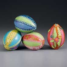 Bright Paper and Ribbon Eggs    By: Kathleen George for STYROFOAM Brand Foam