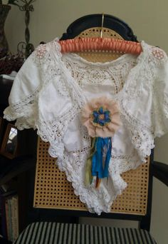 Vintage Lace Shawl & Flower Pin, $16.50. Antique battenburg lace scarf and shabby chic handmade fabric flower pin,